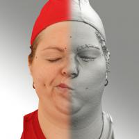 3D head scan of sneer emotion right - Misa