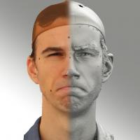 3D head scan of angry emotion - Kuba