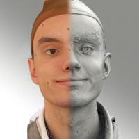 3D head scan of natural smiling emotion - Lukas