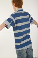 Upper body striped blue gray shirt blue jeans shorts black gray shoes of Wesley 0007