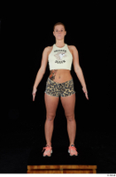 Chrissy Fox leopard shorts standing white tank top whole body 0001.jpg