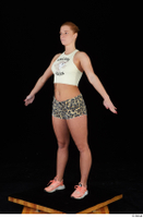 Chrissy Fox leopard shorts standing white tank top whole body 0010.jpg
