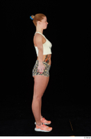 Chrissy Fox leopard shorts standing white tank top whole body 0015.jpg