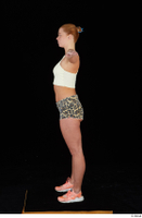 Chrissy Fox leopard shorts standing t-pose white tank top whole body 0003.jpg