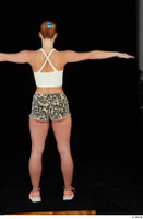 Chrissy Fox leopard shorts standing t-pose white tank top whole body 0005.jpg