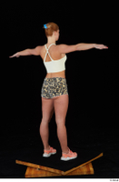 Chrissy Fox leopard shorts standing t-pose white tank top whole body 0006.jpg