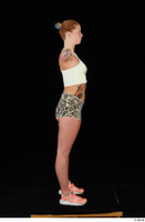 Chrissy Fox leopard shorts standing t-pose white tank top whole body 0007.jpg
