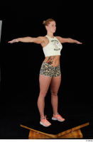 Chrissy Fox leopard shorts standing t-pose white tank top whole body 0008.jpg