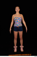 Cayla Lyons jeans shorts pink winter shoes standing strapless top whole body 0001.jpg