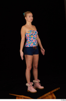 Cayla Lyons jeans shorts pink winter shoes standing strapless top whole body 0008.jpg