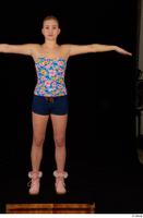 Cayla Lyons jeans shorts pink winter shoes standing strapless top t-pose whole body 0001.jpg