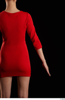 Kyoko  1 arm back view flexing red dress 0001.jpg