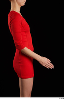 Kyoko  1 arm flexing red dress side view 0002.jpg
