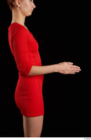 Kyoko  1 arm flexing red dress side view 0003.jpg