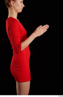 Kyoko  1 arm flexing red dress side view 0004.jpg