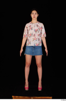 Lady Dee blossom top blue jeans skirt pink high heels standing whole body 0001.jpg