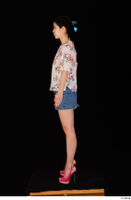 Lady Dee blossom top blue jeans skirt pink high heels standing whole body 0011.jpg