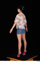 Lady Dee blossom top blue jeans skirt pink high heels standing whole body 0012.jpg