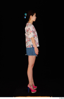 Lady Dee blossom top blue jeans skirt pink high heels standing whole body 0015.jpg
