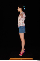 Lady Dee blossom top blue jeans skirt pink high heels standing t poses whole body 0003.jpg