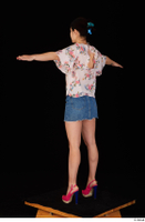 Lady Dee blossom top blue jeans skirt pink high heels standing t poses whole body 0004.jpg