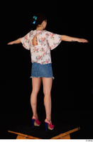 Lady Dee blossom top blue jeans skirt pink high heels standing t poses whole body 0006.jpg