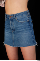 Lady Dee blue jeans skirt hips 0002.jpg